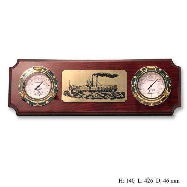 Метеостанция баромерт и гигрометр на деревянной основе (горизонтальная)
