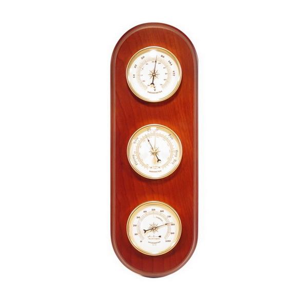 Метеостанция термометр барометр гигрометр деревянная округлая основа