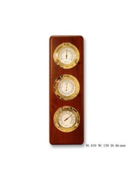 Метеостанция и часы с врезными приборами на деревянной основе