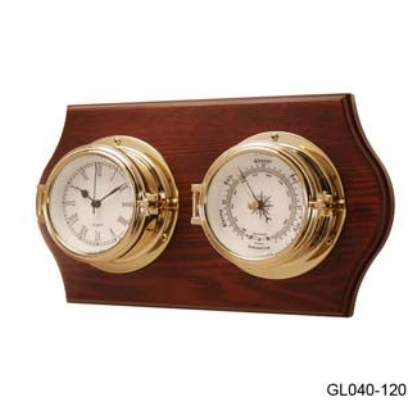 Барометр с часами в высоком корпусе на деревянной основе