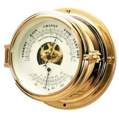 Метеостанция барометр и термометр в латунном высоком корпусе
