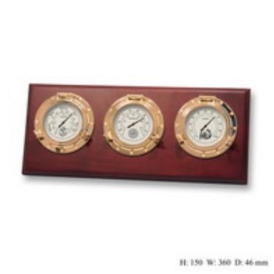 Метеостанция и часы с врезными приборами на деревянной основе из темного дерева