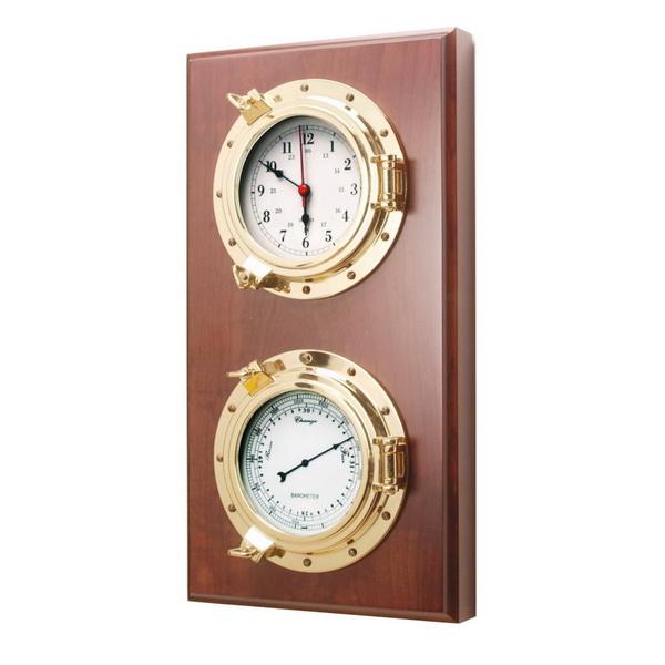 Барометр и часы на деревянной основе с врезными приборами