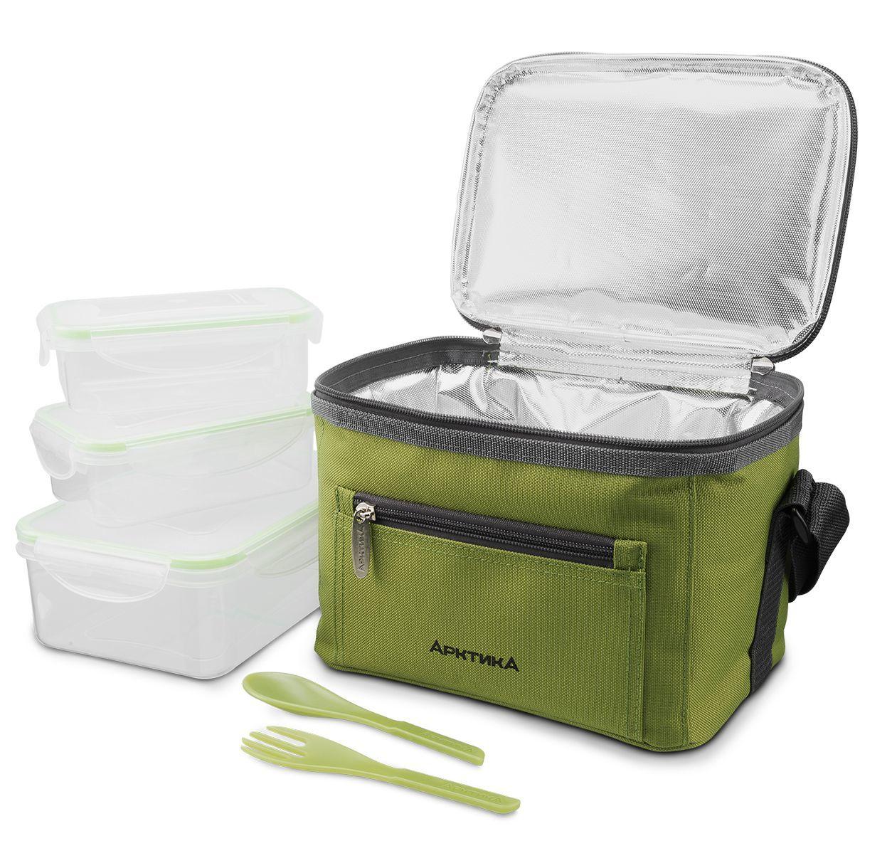 Ланч-сумка зелёная с контенерами Арктика, 2.5 литра
