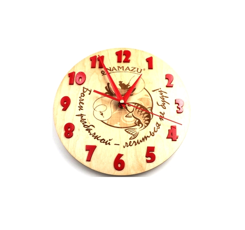 Часы Namazu Болен рыбалкой, 250х250х40 мм