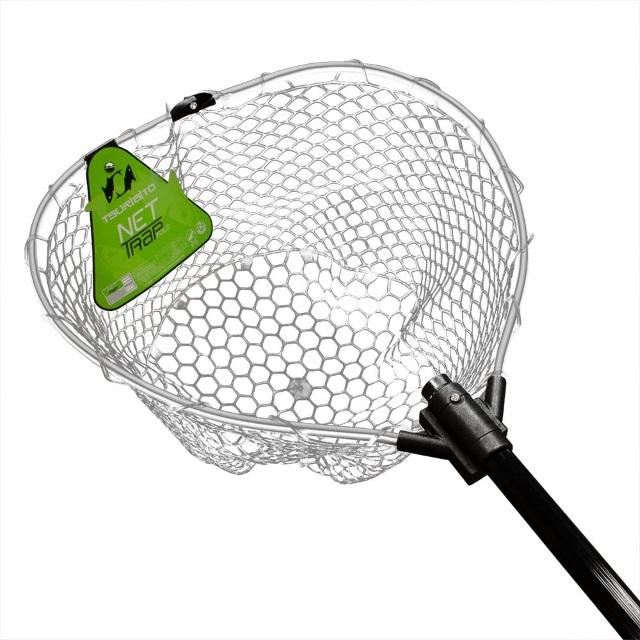 Подсачек Tsurbito net trap tele c черной силиконовой сеткой телескопический 95см 38см
