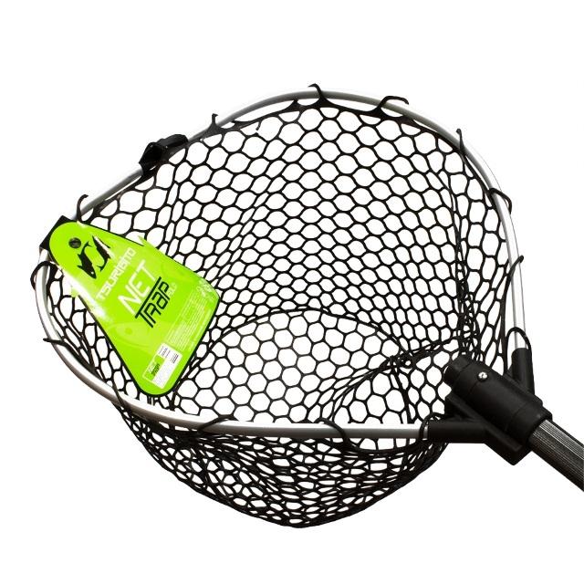 Подсачек Tsurbito net trap tele c черной силиконовой сеткой складной 150см 38см