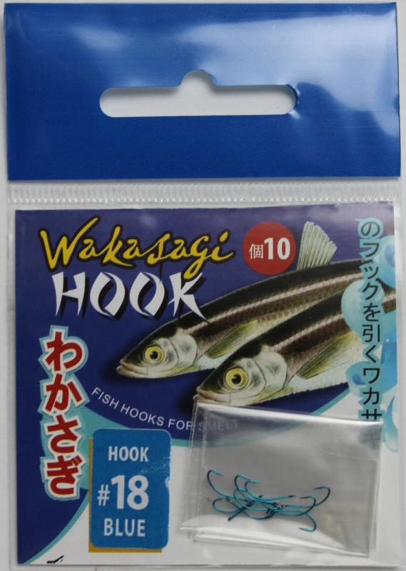 Крючок Wakasagi на корюшку, 10 шт,blue, №18, ушко