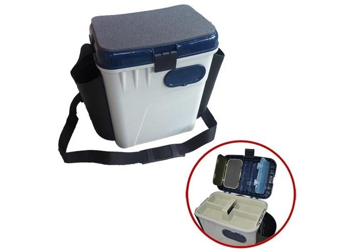 Ящик рыболовный зимний Salmo 2-х ярусный пластиковый с карманами 33.5х23.5х39см