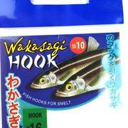 Крючок Wakasagi на корюшку, 10 шт, green, №16, ушко