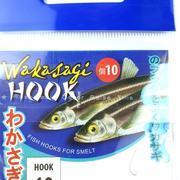 Крючок Wakasagi на корюшку, 10 шт, nikel, №16, ушко