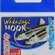 Крючок Wakasagi на корюшку, 6 шт, gold, №2, на поводках 0,10мм