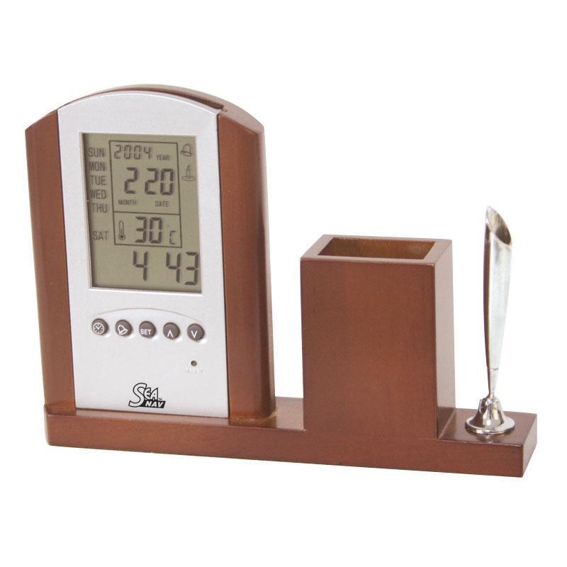 Подставка под ручки деревянная с часами и термометром